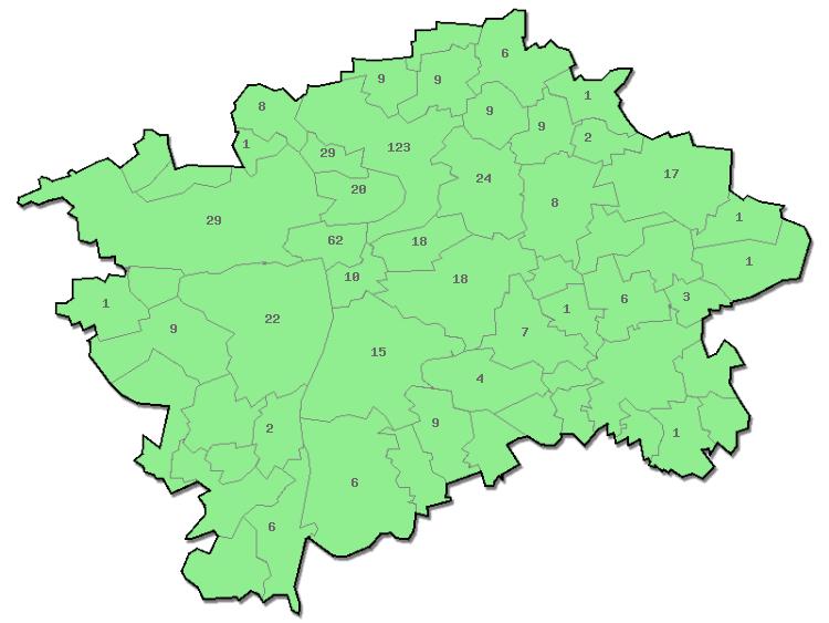 Praha - nálezy podle mestských cástí