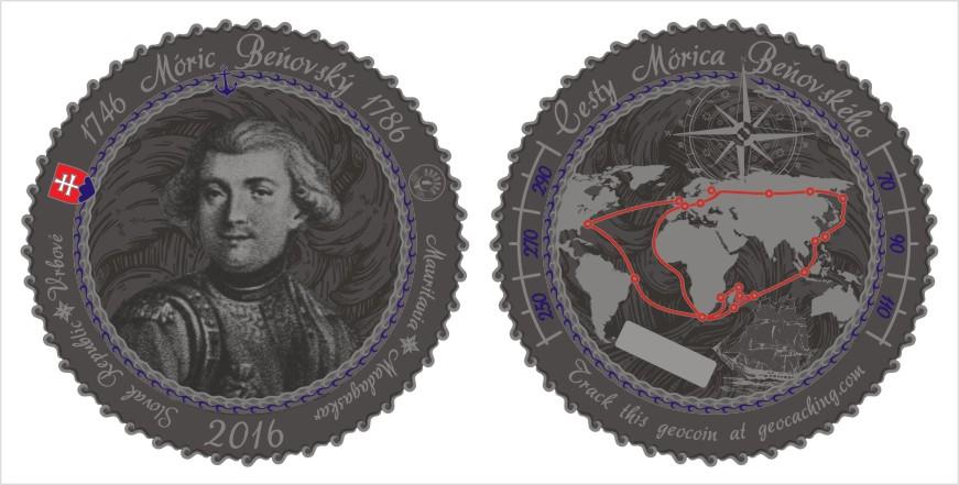 Geocoin - Móric Beňovský - podporme kráľa Madagaskaru vydať sa na cesty.