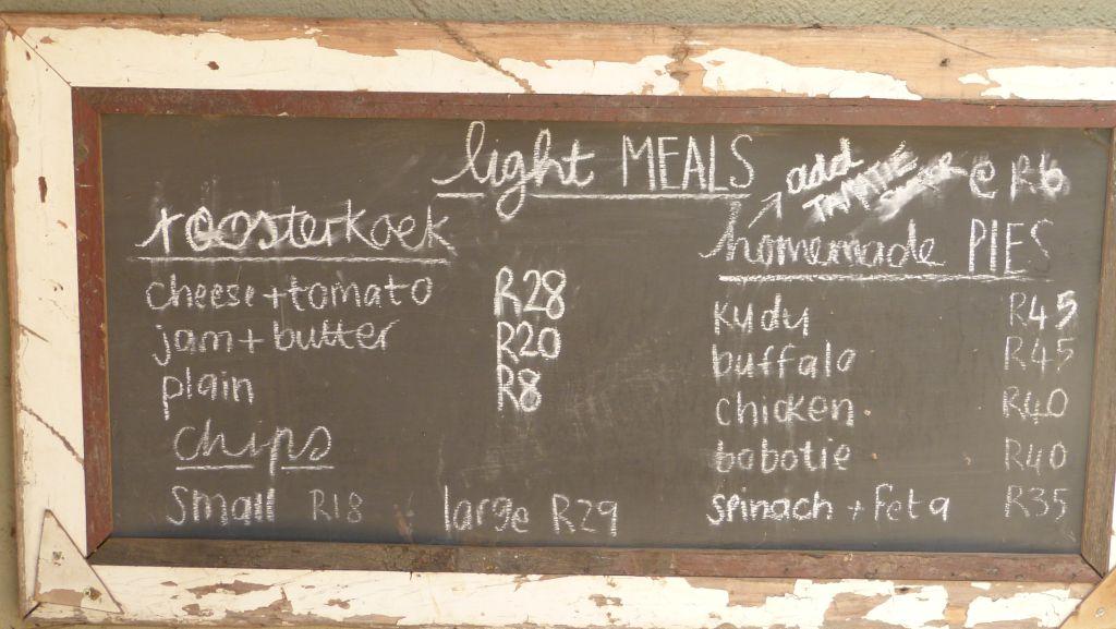 Menu rychlého občerstvení v Tshokwane