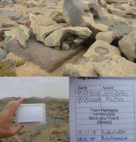 Cache v Namibii u Pobřeží koster